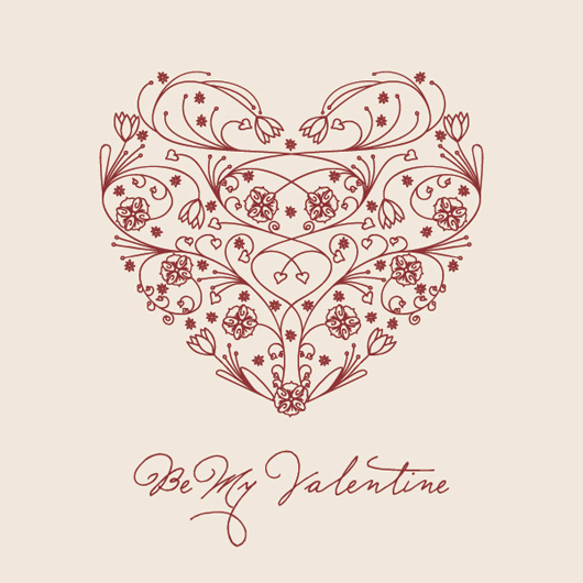 Floral Valentine Heart Vector Graphic