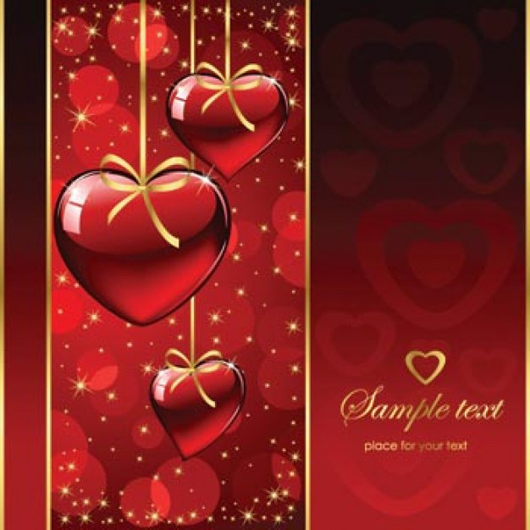Red background valentines cards