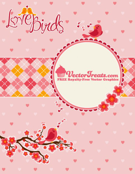 branches birds in hearts patterns
