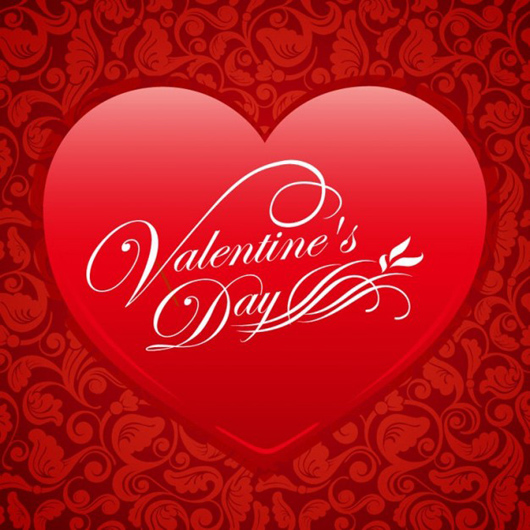 Red floral heart valentine vector background