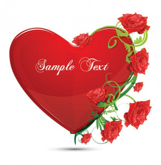 red glossy heart and rose vector