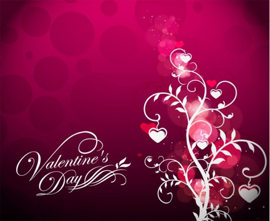 valentine& ;s day floral on red background
