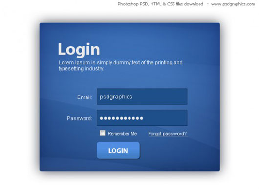 Blue login box, HTML and CSS with PSD template
