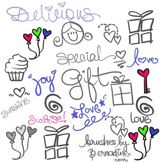 Set of 21 Cute, Sweet, Girly Girl Love Doodle Brushes
