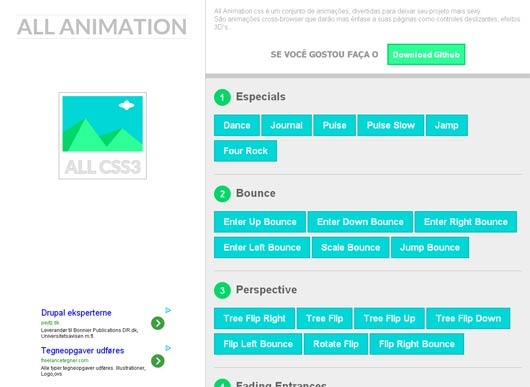 All Animation.css : CSS3 effects with jQuery