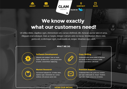 Glam Agency - One Page Responsive HTML5 Template