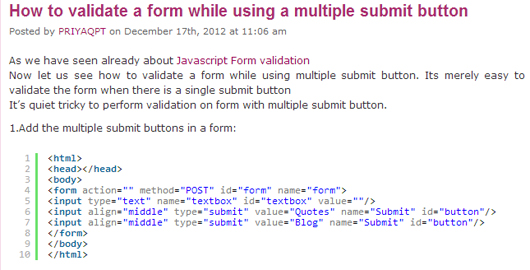 How to validate a form while using a multiple submit button