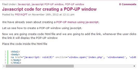 Javascript code for creating a POP-UP window