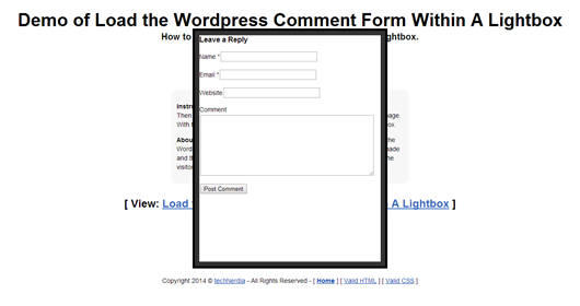 Loading The WordPress Comment Form Within A Lightbox