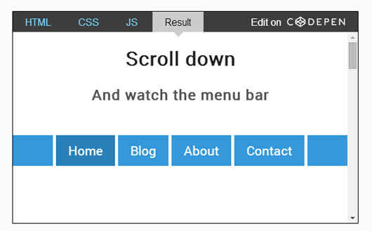 Making a scroll-dependent menu bar with CSS3 and JavaScript