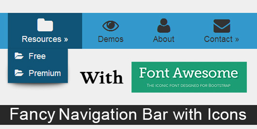 Navigation Menu with Fontawesome Icons