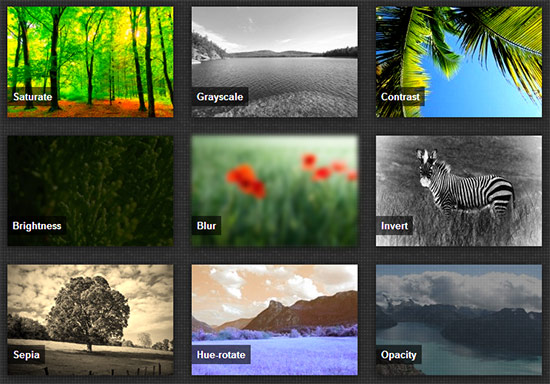 Simple hover effects with CSS filters