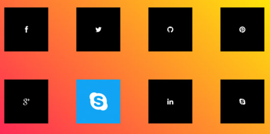 Social Media icons with CSS3 hover effects