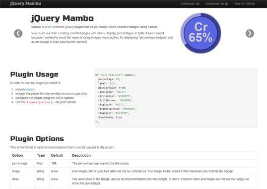 jQuery Mambo, easy canvas rounded badges