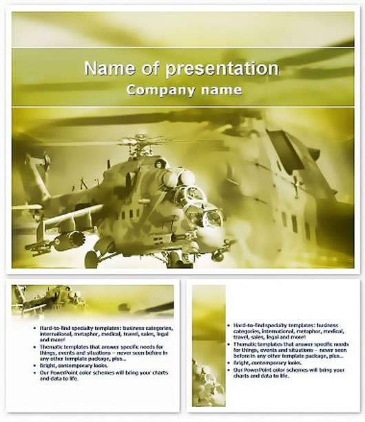 Military helicopter on a mission Keynote templates