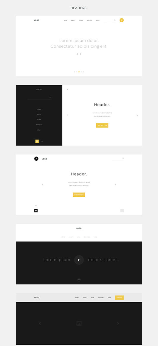 One Page Website Wireframes #2