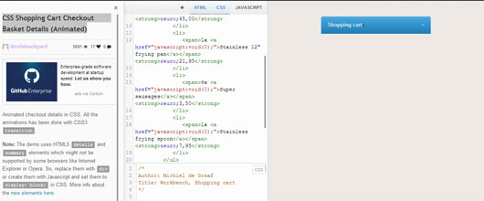 CSS Shopping Cart Checkout Basket Details (Animated)