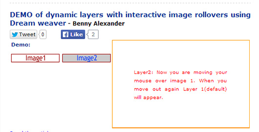 Creating dynamic layers with interactive image rollovers using Dreamweaver