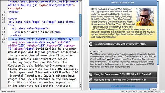 Customizing Mobile Pages with jQuery Mobile in Dreamweaver CS5.5
