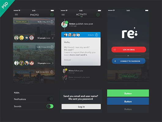 Re – Free UI kit for apps