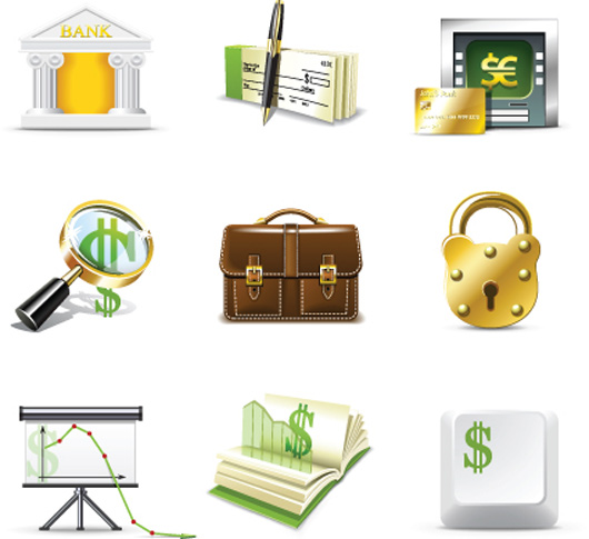 Set of Business Finance Icons vector 03