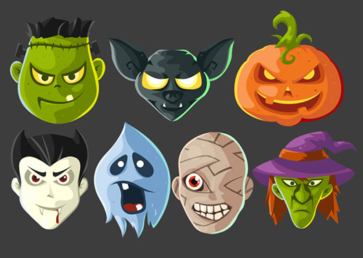 Halloween Head Icons Free PSD and PNG