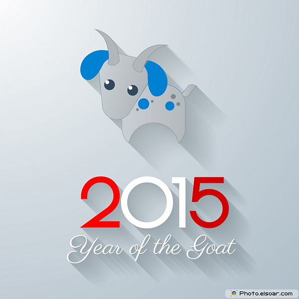 2015 Year of the Sheep On Grey Background