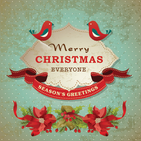 Christmas cute greeting cards design vector