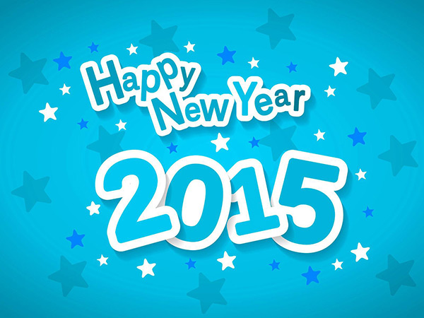 Happy New Year 2015 style blue