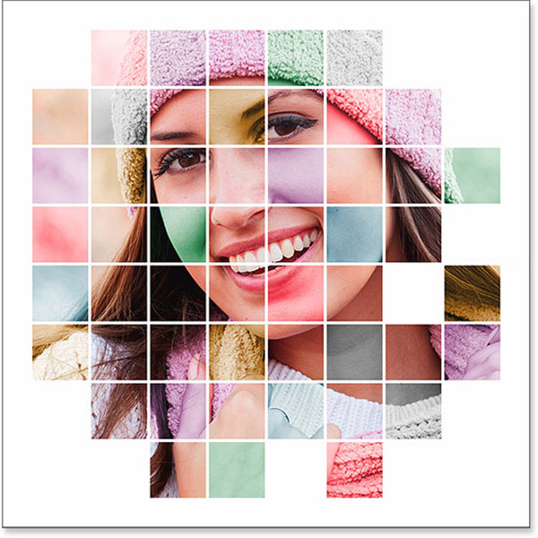 Color Grid Photo Display Effect With Photosho
