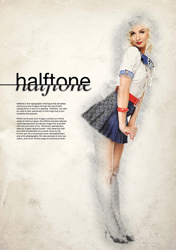 Create a vintage design using stylish halftone effects