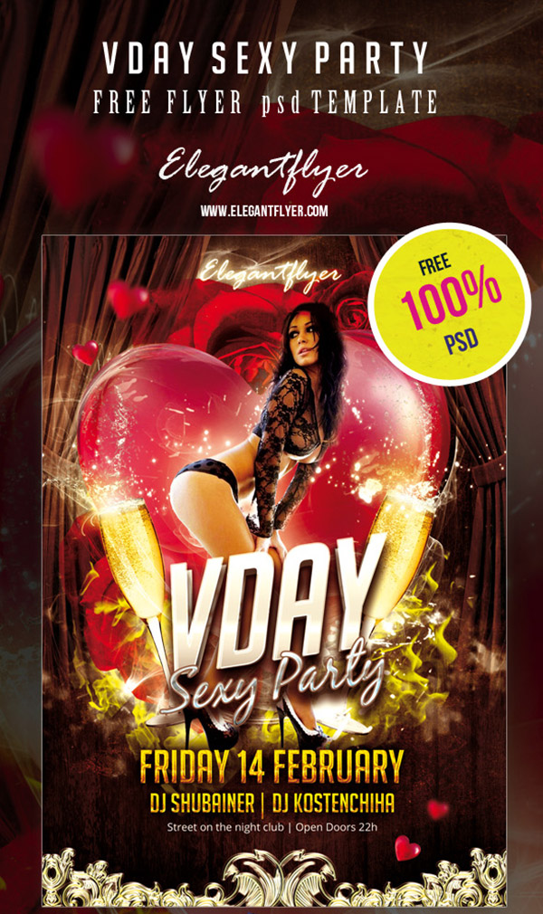 Free PSD Flyer / Poster Template – Valentine's Day Party