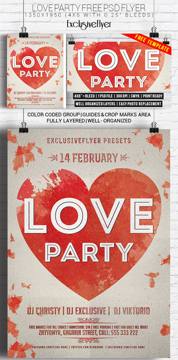 Love Party – Free Flyer Template