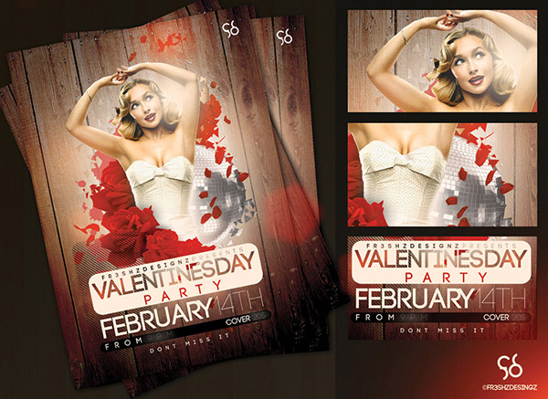 valentines day lovely disco party flyer
