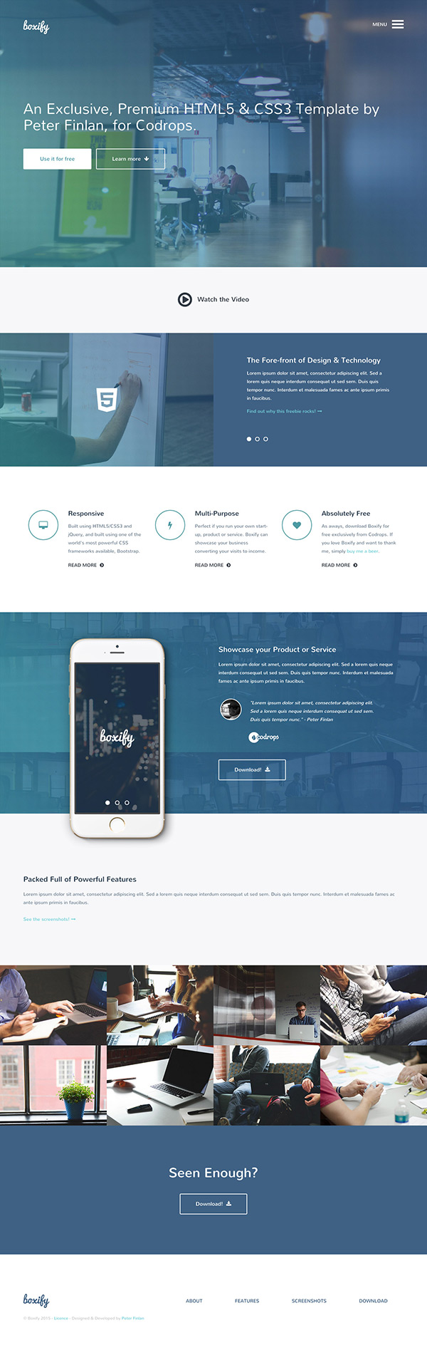 Boxify - Free responsive One Page HTML template