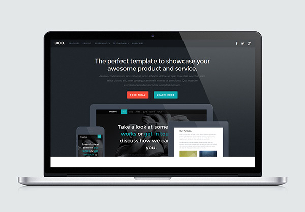 Woo - Free One Page Website HTML Template