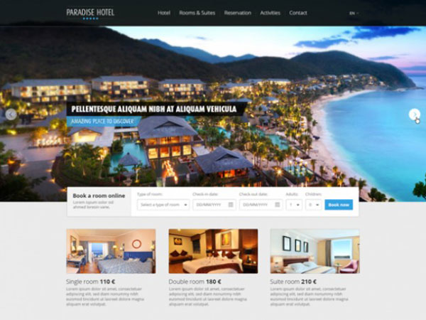 Beautiful hotel website template PSD