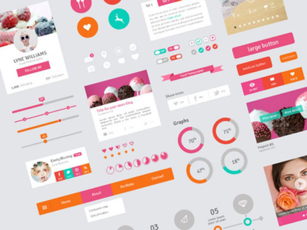 User interface template in flat design