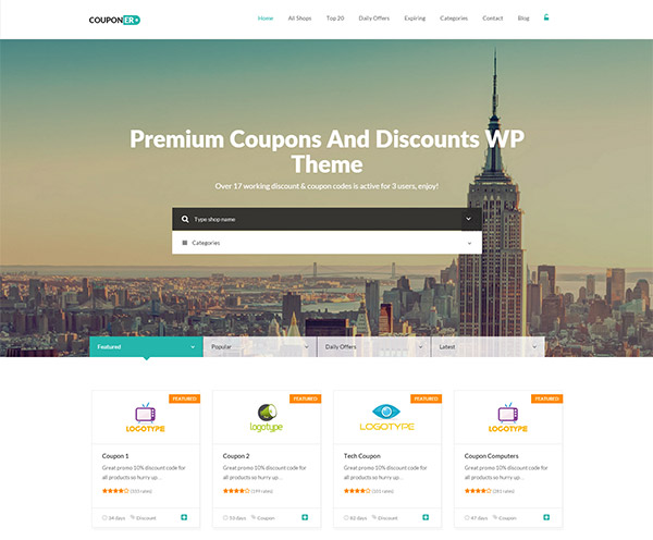 Couponer - Coupons & Discounts WP Theme
