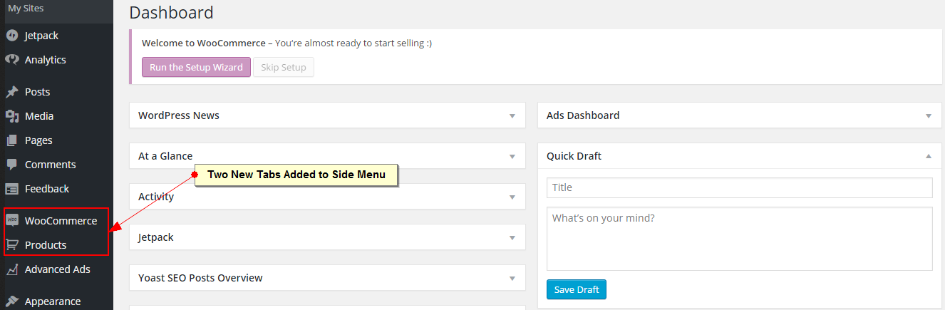 activating the latest version of WooCommerce