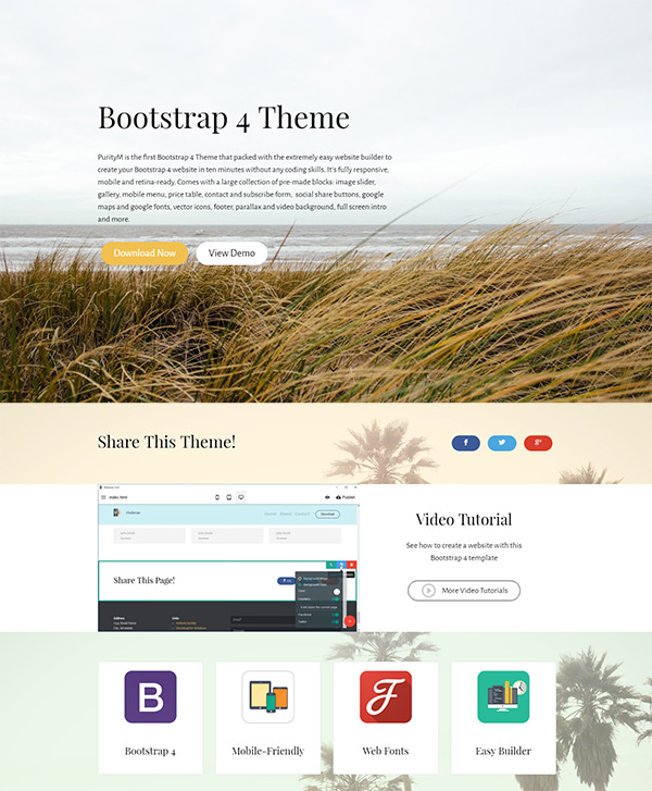 Bootstrap 4 Theme - Bootstrap Header Template