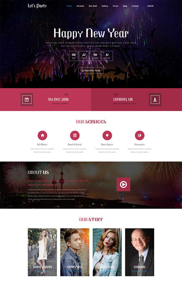Lets Party an Entertainment Bootstrap Template