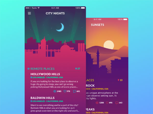 Flat design with vivid colors