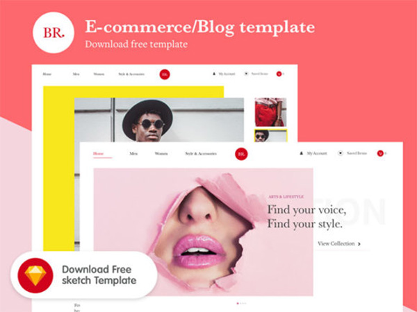 Br: Free Sketch ecommerce / blog template
